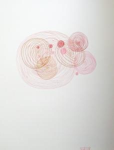 Cercles concentriques rouges et roses et rosés et rougeâtres